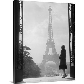 """""""1920's Anonymous Silhouetted Woman Standing Across From The Eiffel Tower Pari"""" Canvas Wall Art"""