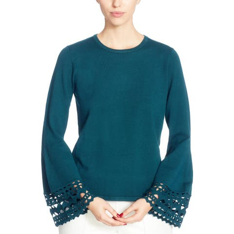 CATHERINE CATHERINE MALANDRINO Womens Pullover Top Knit Long Sleeves