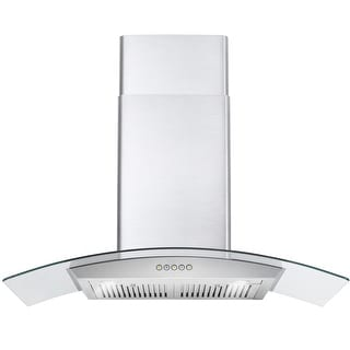 Cosmo 36 in. Wall Mount Range Hood in Stainless Steel with Glass Hood, Push Button Controls, Permanent Filters & LED Lights