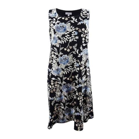 Robbie Bee Women's Petite Sleeveless Floral Print Trapeze (PS, Black/Multi) - PS