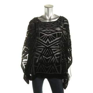Vince Camuto Womens Velvet Burnout Poncho Sweater