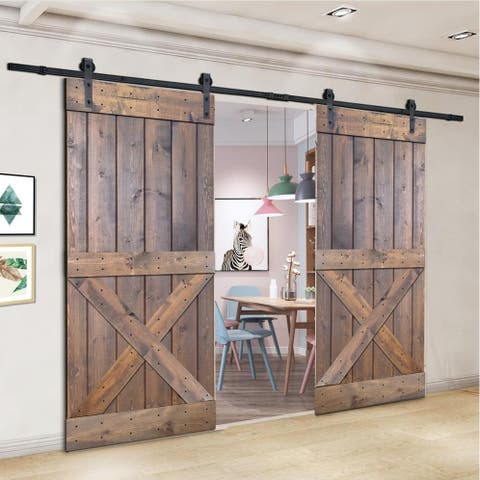 Paneled Wood Painted Double Barn Door DX Series (Set of 2)