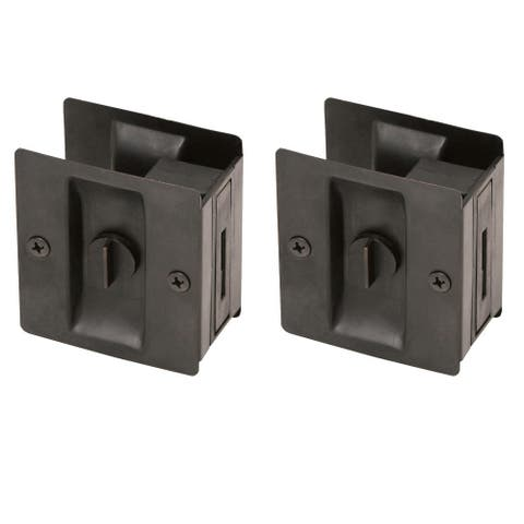 "Design House 182139 2-3/4"" x 2-1/2"" Brass Privacy Pocket Door Lock - 2 Pack"