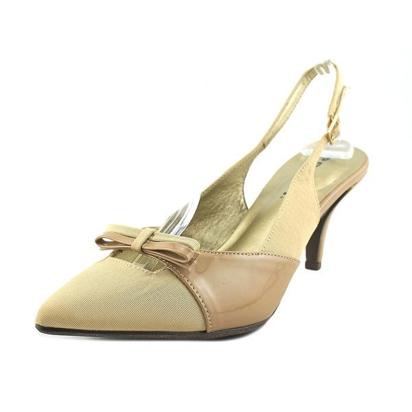 Proxy P0006 Women W Pointed Toe Canvas Nude Slingback Heel