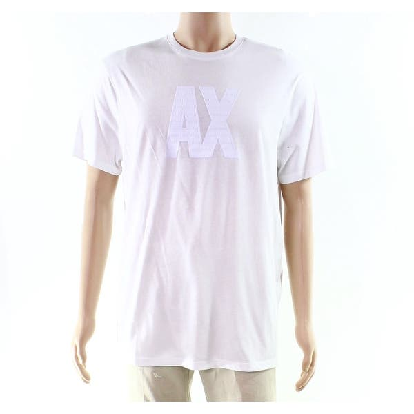 2aa40073c3d Armani Exchange White Size Large L Block Letter Graphic Tee Shirt