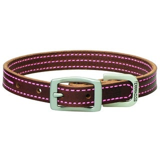 "Terrain DOG 06-2031-T3-17 Bridle Leather Dog Collar, Pink Stitching, 3/4"" x 17"""