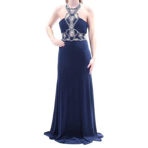 Womens Navy Sleeveless Full Length Sheath Evening Dress Size: 3