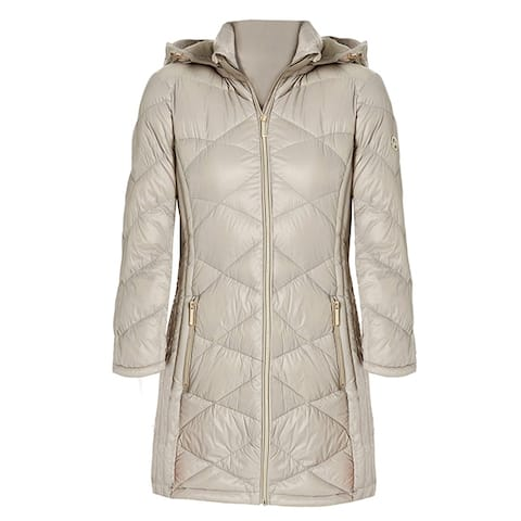 Michael Kors Womens Taupe 3/4 Down Hooded Packable Coat