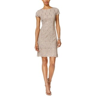 Alex Evenings Womens Petites Cocktail Dress Layred Sequined