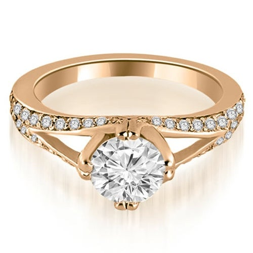 0.80 cttw. 14K Rose Gold Prong Set Round Cut Diamond Engagement Ring