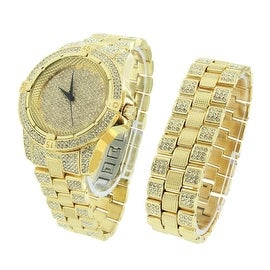 Gold Finish Mens Watch & Bracelet Set Fully Iced Out Lab Diamonds Analog Display Stainless Steel Back