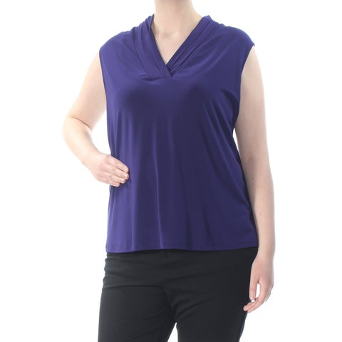 ANNE KLEIN Womens Purple Ruched Sleeveless V Neck Wear To Work Top Plus Size: 3X