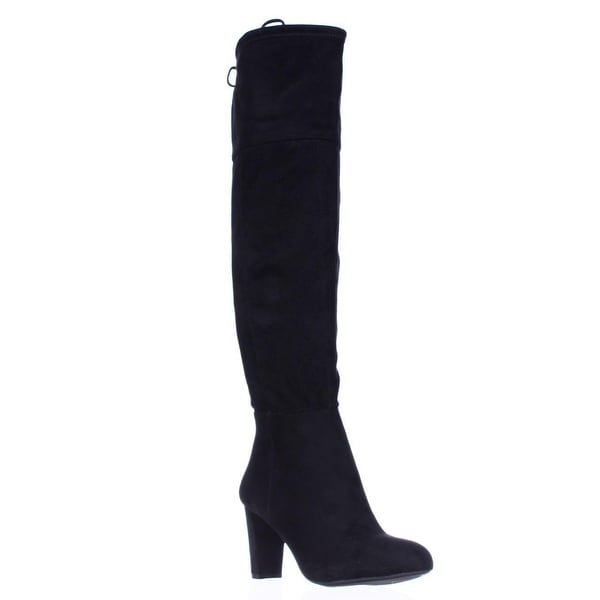 I35 Hadli Fringe Tie Pull On Over The Knee Boots, Black