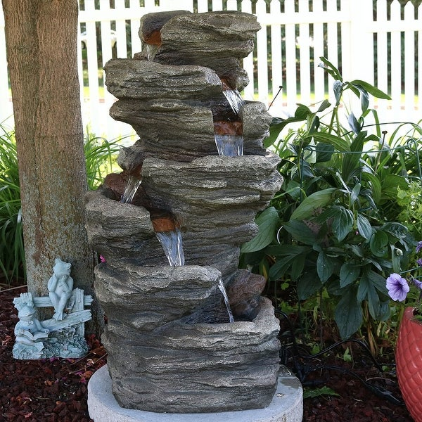 Sunnydaze Multi Level Flatrock Outdoor Water Fountain with LED Lights 32 Inch
