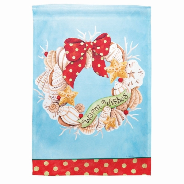 "Blue and Red Seashell Wreath ""Warm Wishes"" Printed Outdoor Garden Flag 18"" x 13"" - N/A"