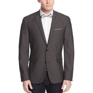Bar III Slim Fit Charcoal Texture Tweed Two Button Sportcoat 46 Regular 46R