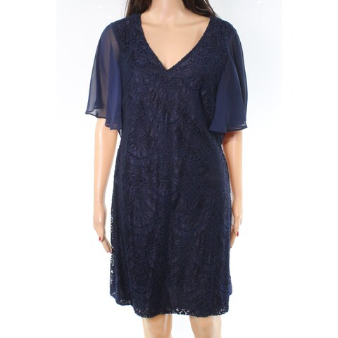 Connected Apparel Navy Chiffon Lace Women's Sheath Dress