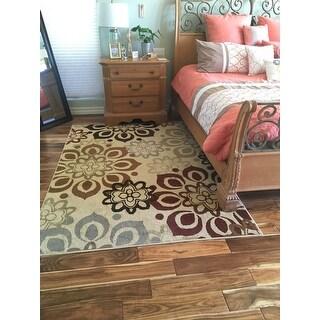 Indoor Beige and Rust Area Rug