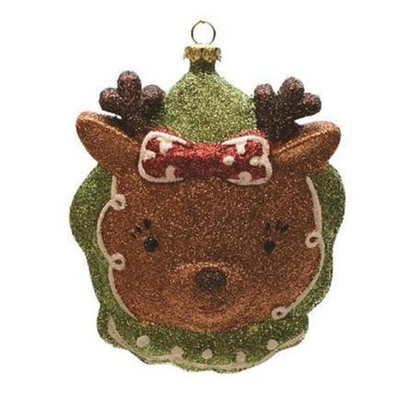 "4.5"" Merry & Bright Green, Brown and Red Glittered Shatterproof Reindeer Head Christmas Ornament"