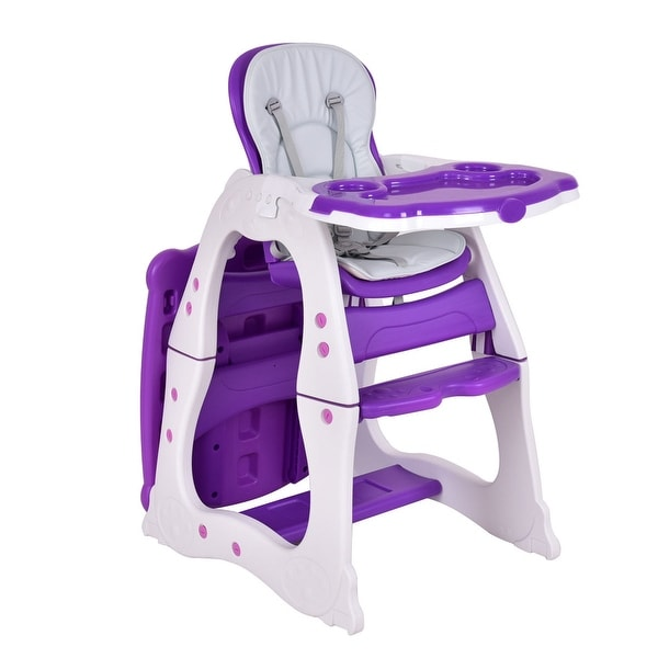 Costway 3 in 1 Baby High Chair Convertible Play Table Seat Booster Toddler Feeding Tray - Purple
