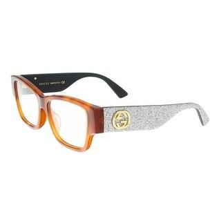 Gucci GG0104OA 004 Havana/Silver Rectangle Opticals
