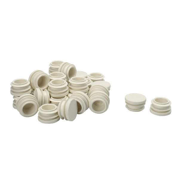 """7/8"""" 22mm OD Plastic Round Ribbed Tube Inserts Pipe End Cover Cap White"""