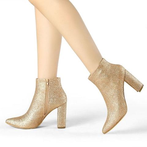 Women's Glitter Pointy Toe Chunky Heel Ankle Booties