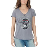 William Rast Gray Women's Size Large L Graphic U-Neck T-Shirt Top