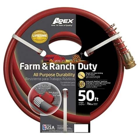 Apex 989-50 0.75 in. x 50 ft. Farm & Ranch Duty All Purpose Hose Dark Red