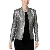Kasper Silver Womens Size 4 Open-Front Shimmer Jacquard Jacket