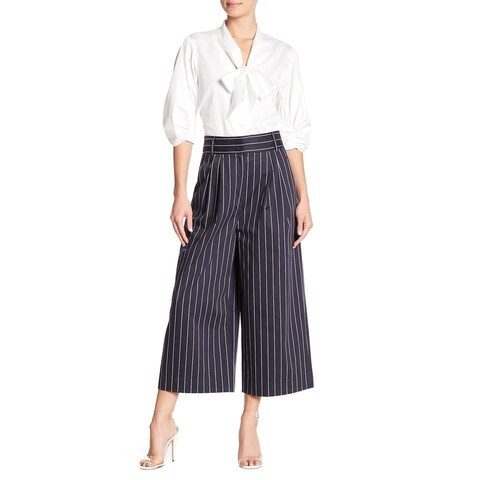 Tibi Navy Blue Women's Size 0 Wide Striped Cropped Dress Pants