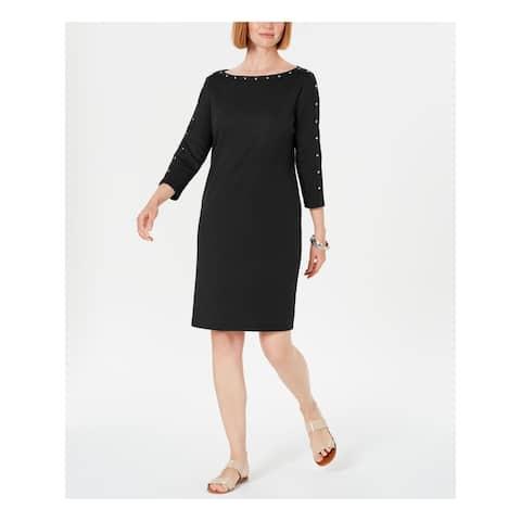 KAREN SCOTT Black 3/4 Sleeve Above The Knee Dress S