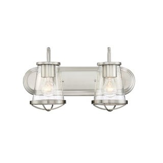 "Designers Fountain 87002 Darby 2 Light 18"" Wide Bathroom Vanity Light with Seedy Glass Shade"