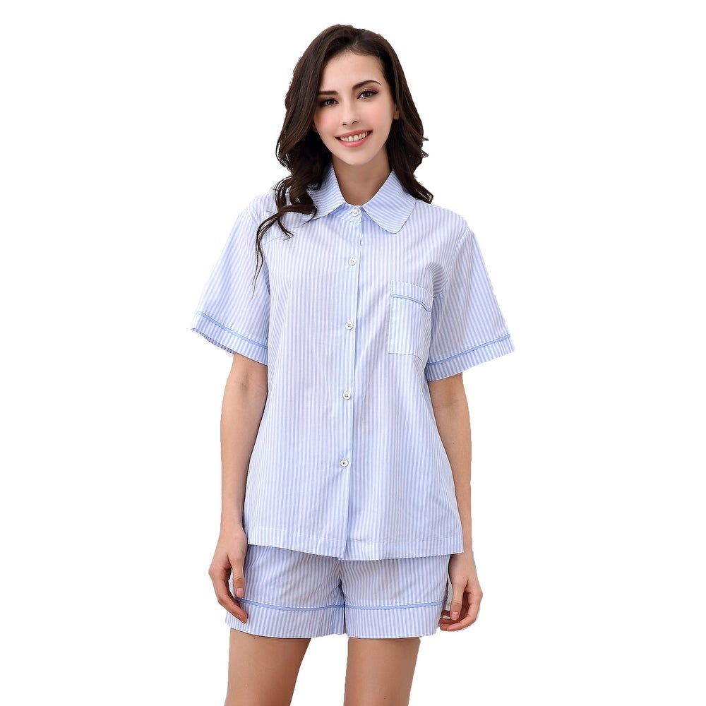 Richie House Womens Cotton Two-piece Set Pajama Sleepwear