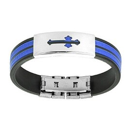 Stainless Steel Medieval Cross ID Plate 2-Tone Maze Rubber Bracelet (14 mm) - 8 in