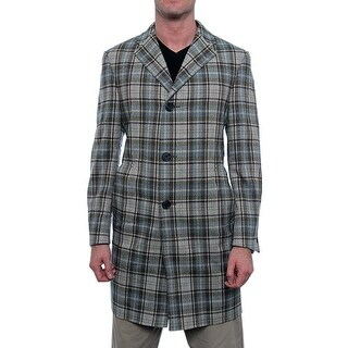 Hickey Freeman Classic Button Up Overcoat Basic Coat Plaid
