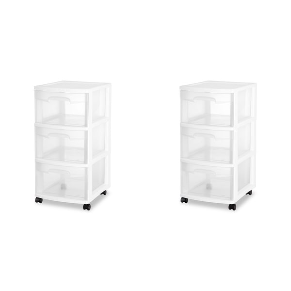 """Case of 2 Sterilite 3 Drawer Rolling Carts - 12.63"""" wide. Opens flyout."""