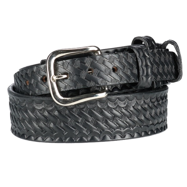 Boston Leather Men's Big & Tall Leather Basketweave Ranger Belt