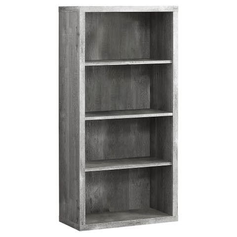 """Offex 48""""H Contemporary Grey Reclaimed Wood-Look Bookcase w/ 3 Shelves - 23.75""""x 11.75""""x 47.5"""""""