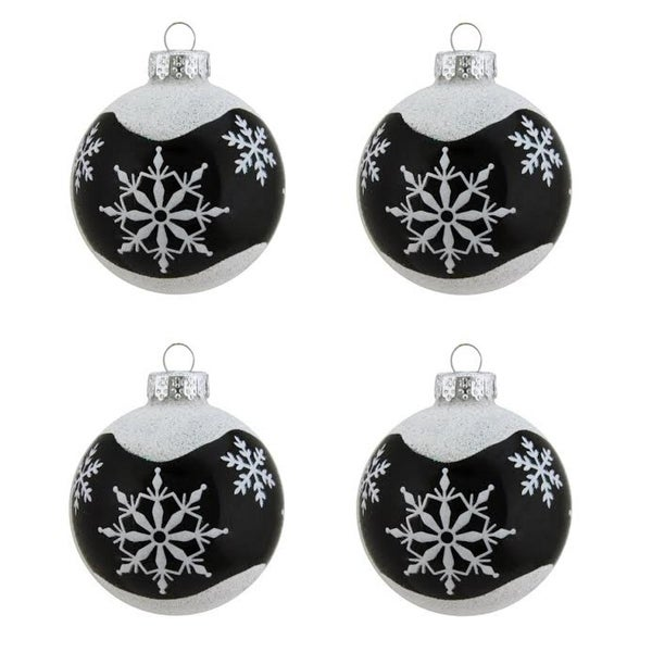 "4ct Alpine Chic Shiny Black with White Snowflake Design Glass Ball Christmas Ornaments 2.5"" (65mm)"