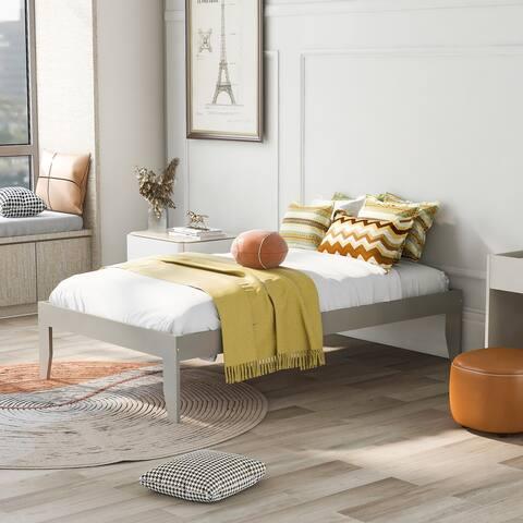 Nestfair Twin Pine Wood Platform Bed