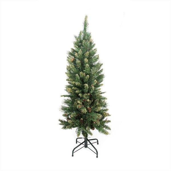4.5' Pre-Lit Yorkville Pine Pencil Artificial Christmas Tree - Multicolored Lights