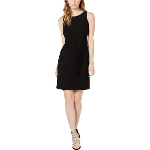 MSK Womens Cocktail Dress Embellished Sleeveless - Black
