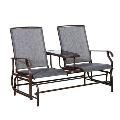 Outsunny Two Person Outdoor Mesh Fabric Patio Double Glider Chair with Center Table