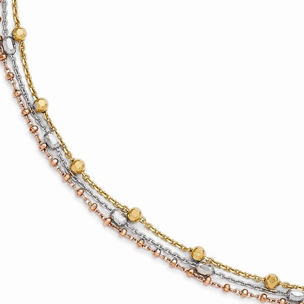 Italian Sterling Silver Rose & Yellow Gold-plated Bracelet with 1in ext - 8 Inches