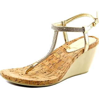 BCBGeneration Maybel Women Open Toe Synthetic Gold Wedge Sandal