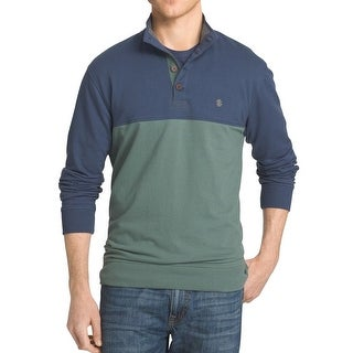 IZOD NEW Green Blue Mens Size Large L Colorblocked Henley Sweater
