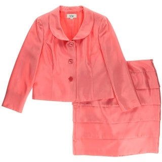 Le Suit Womens Shantung 2PC Skirt Suit - 8