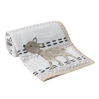 Lambs & Ivy Meadow Blanket - Gray, Beige, White, Animals, Modern, Deer, Girl