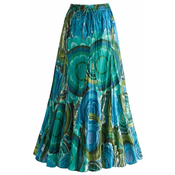 Women's Circles In The Sky Blue And Green Cotton Broomstick Skirt
